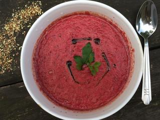 Watermelon gazpacho with hemp oil