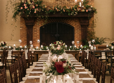 Fall wedding with cascading greens, florals & candles at Barnsley Resort