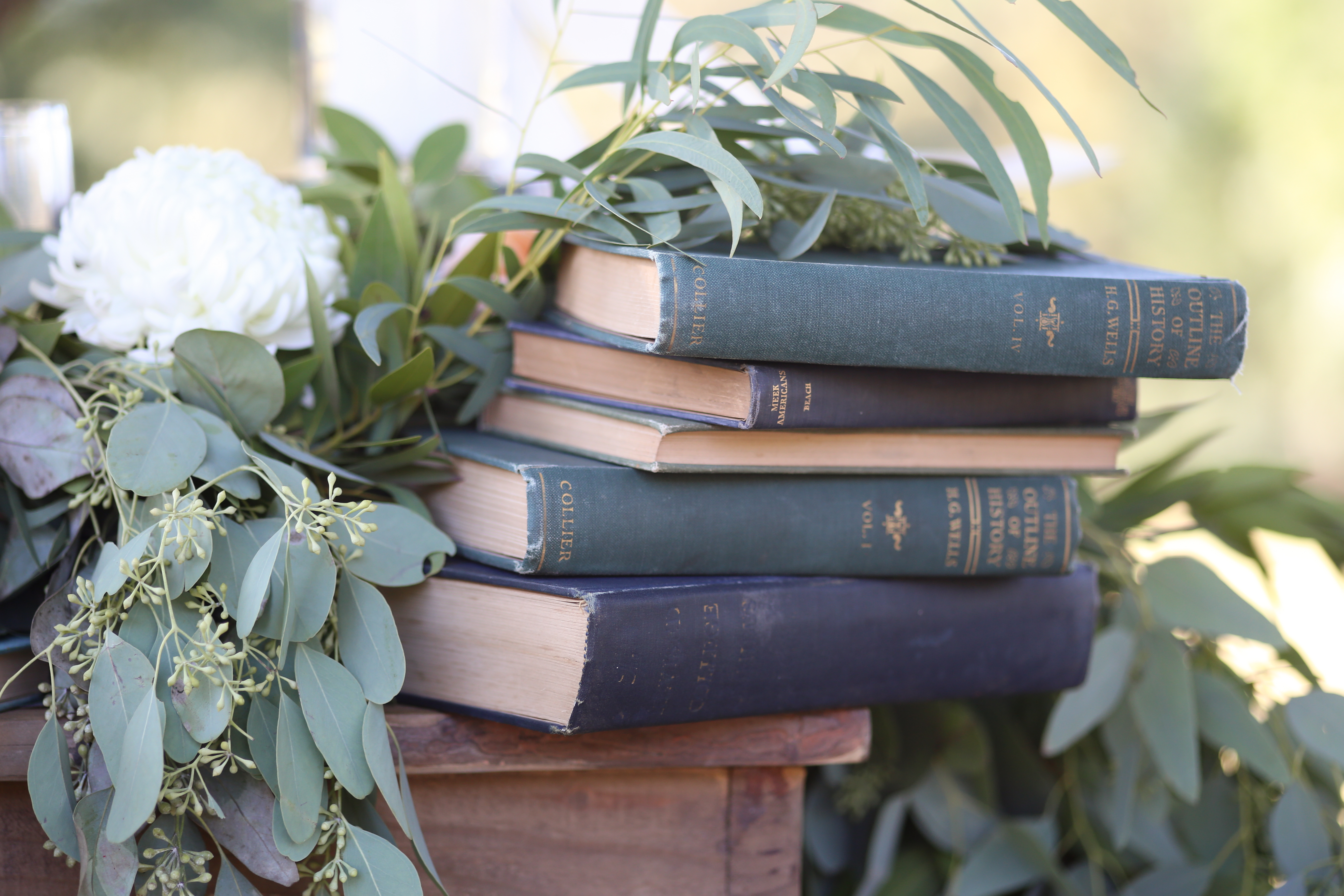vintage books for ceremony table