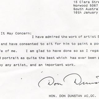 Don Dunstan Letter