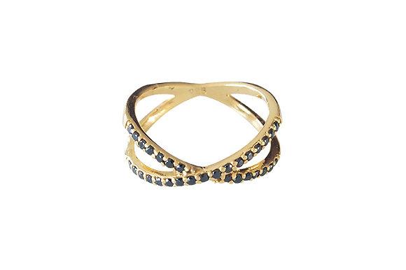 Anillo Crossings Gold & Black