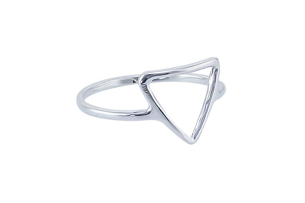 Anillo Tiny Geometric Triangle Silver