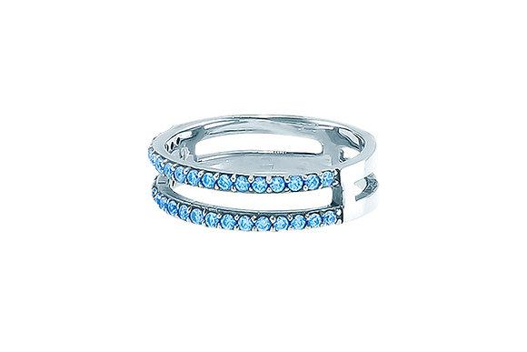 Anillo Doble Sense Silver & Blue