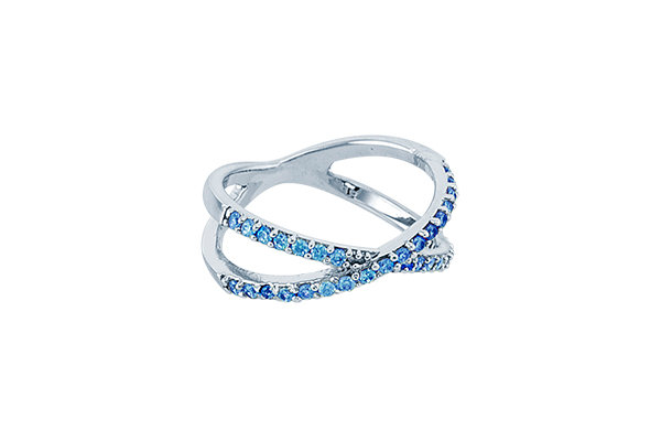 Anillo Crossings Silver & Blue
