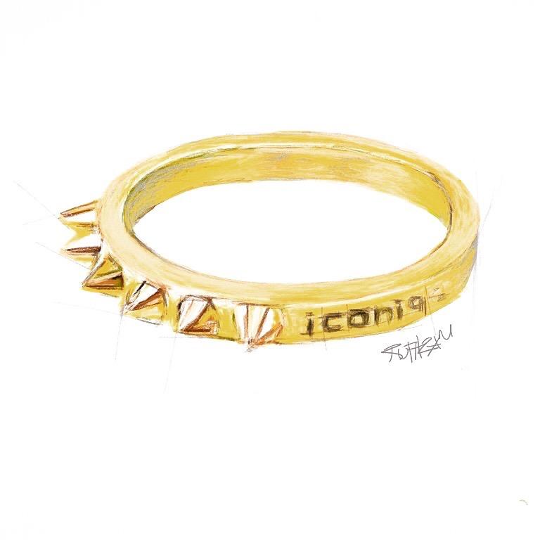 Dibujo de uno de los más llamativos anillos de las joyas iconique, de la colección Punk