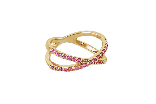 Anillo Crossings Gold & Pink
