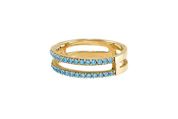 Anillo Doble Sense Gold & Blue