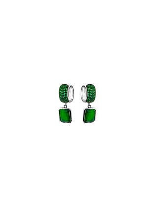 Aretes Cortos Plata con Piedra Verde