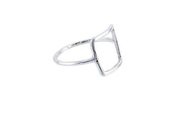 Anillo Tiny Geometric Square Silver