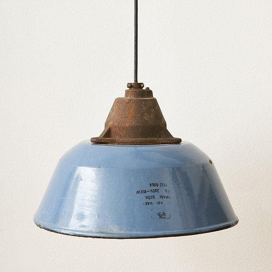 Grey Blue Enamel Cast Iron Vintage Industrial Factory Pendant