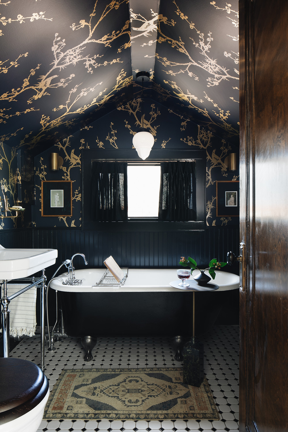 bathroom with dark wallpaper by reDesign Home