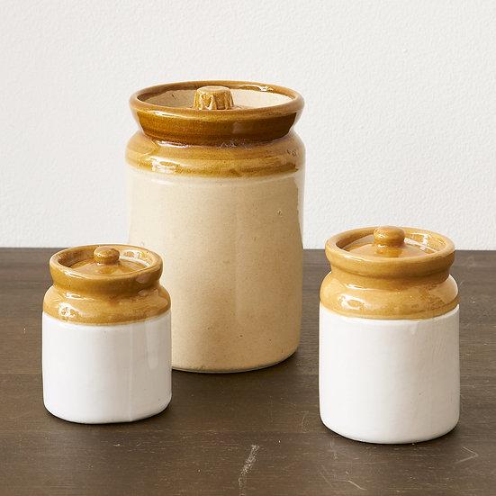 Vintage Mustard Crock  with lid - set of 3
