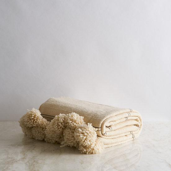 Wool tassels Blanket Ivory