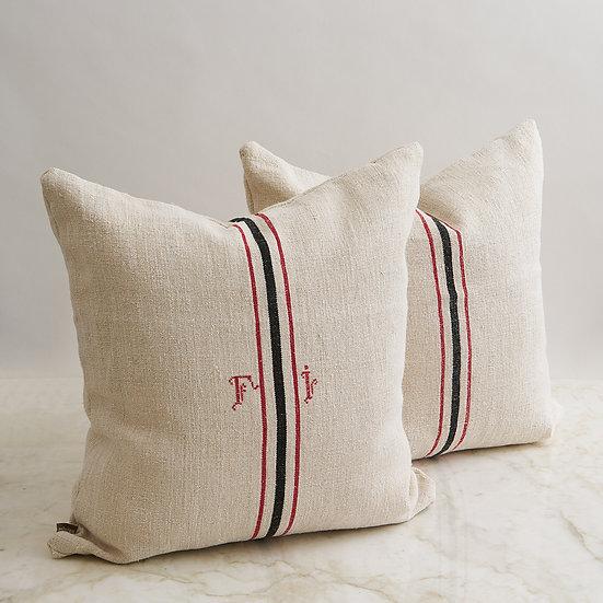 Vintage English Linen Pillow - set of 2