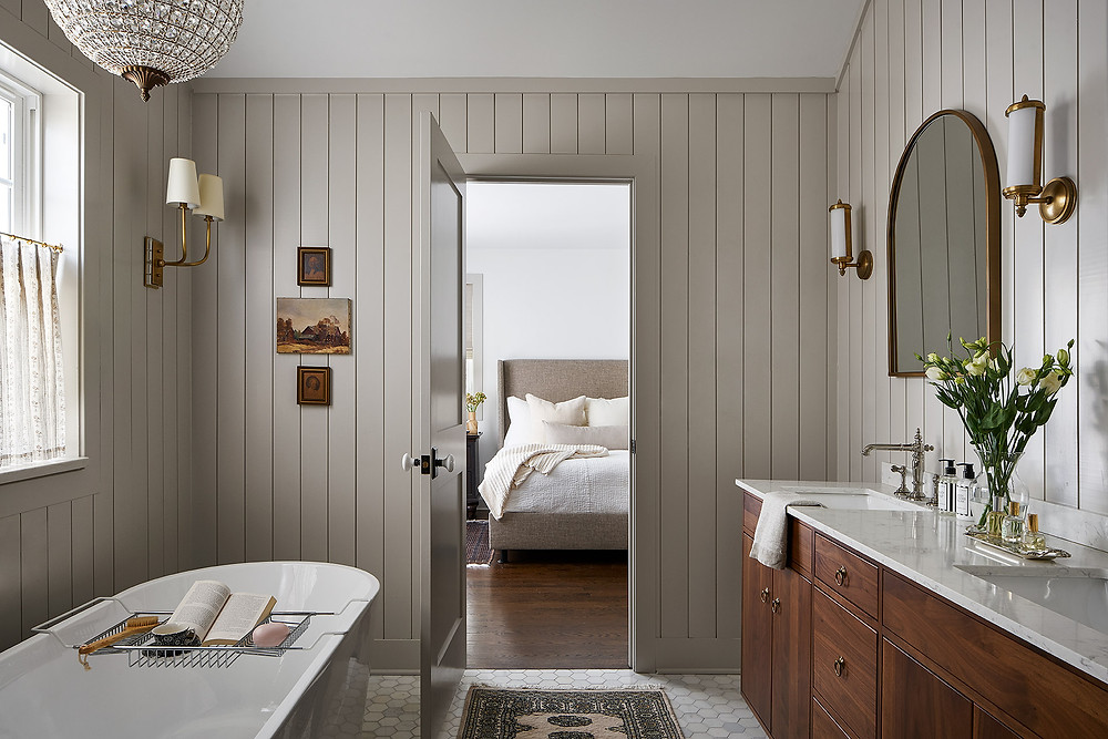 bathroom with tongue and groove paneling