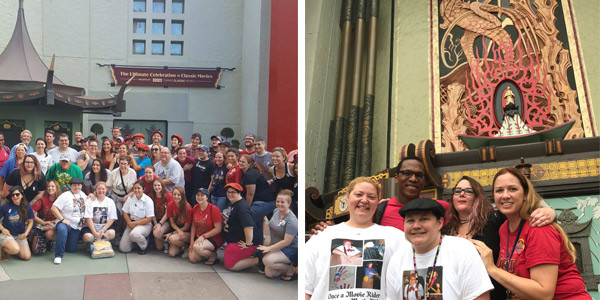 Movie Ride family gathered in Courtyard