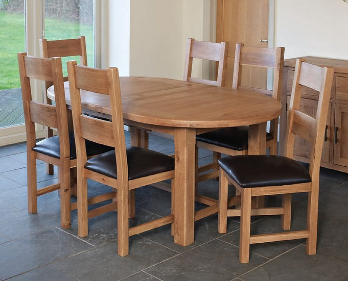 Hampshire Oak Oval Extending Dining Set with 6 Padded Seat Chairs - 180cm-220cm