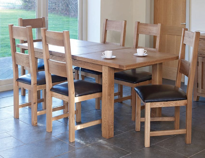 Hampshire Oak Rectangular Extending Dining Set with 6 Padded Seat Chairs - 150cm