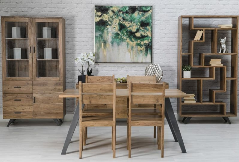 INDUSTRIAL LUXE DINING SET 158CM TABLE WITH 4 CHAIRS