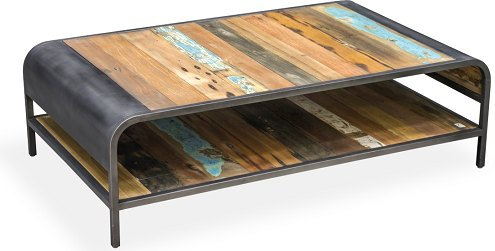 COASTAL INDUSTRIAL COFFEE TABLE WITH SHELF