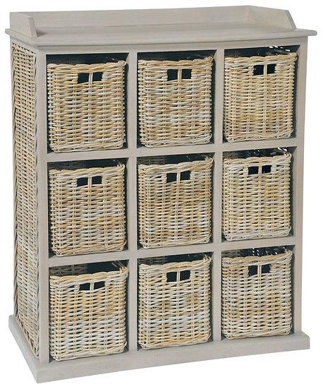 Maze Rattan Vintage Grey 9 Basket Unit