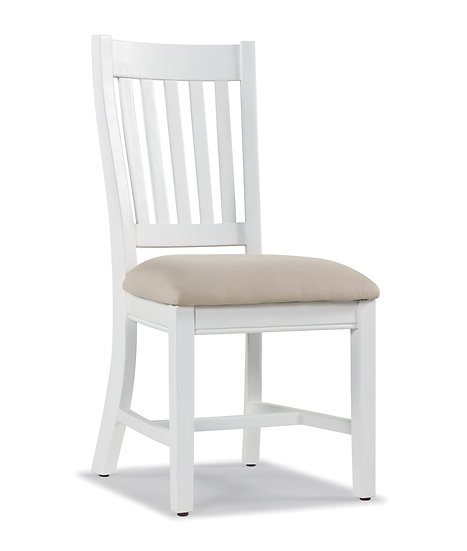 Ashmore Brushed White Slatted Back Dining Chair with Neutral Seat Pad (Pair)