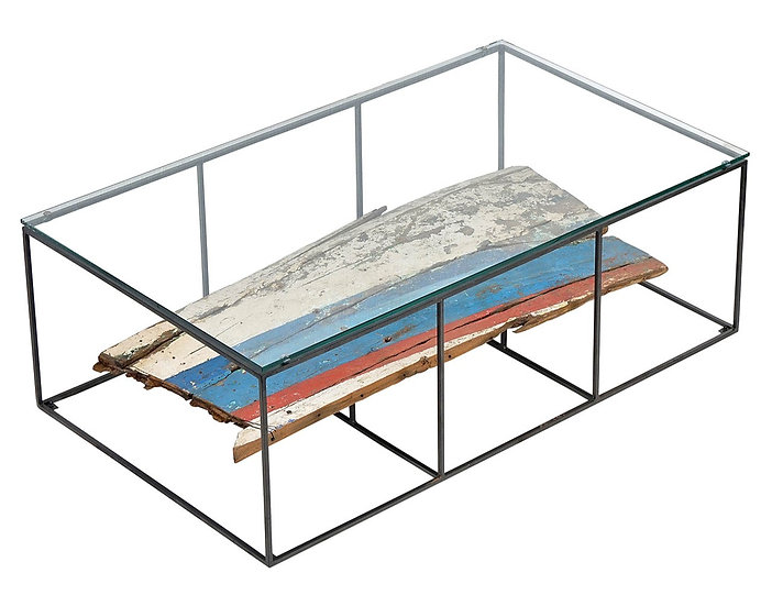 COASTAL INDUSTRIAL GLASS TOP COFFEE TABLE