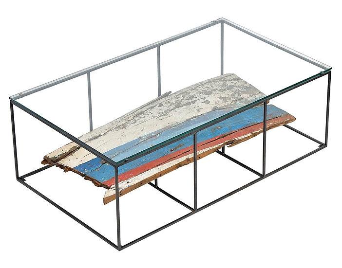COASTAL INDUSTRIAL GLASS TOP COFFEE TABLE