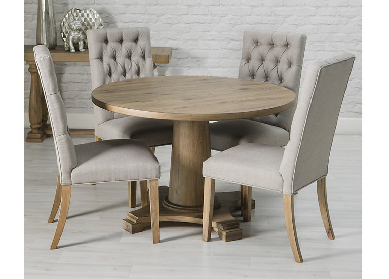 ROYALE OAK ROUND DINING SET WITH 4 LINEN CHAIRS