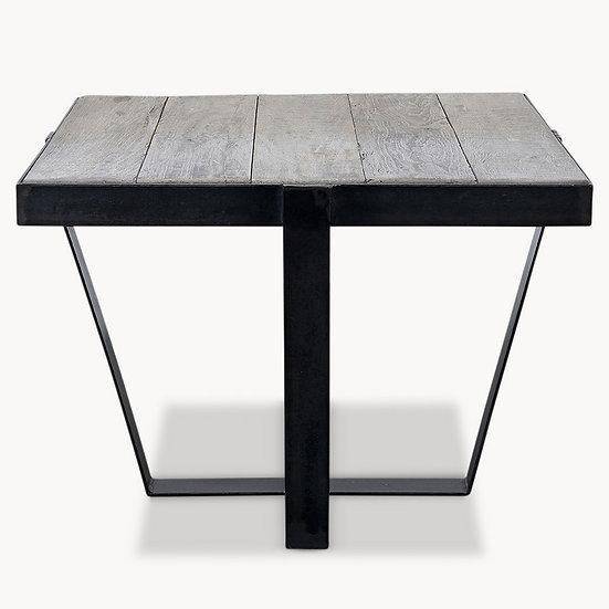 KINGSWOOD OAK AND METAL SIDE TABLE