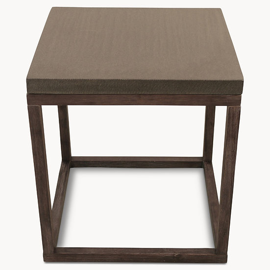 MALVERN LAVA STONE AND WOOD SQUARE SIDE TABLE