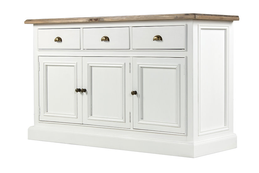 Ashmore Brushed White 3 Door 3 Drawer Wide Sideboard