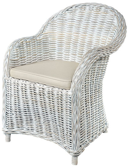 Maze White Armchair with Stone Loose Cushion