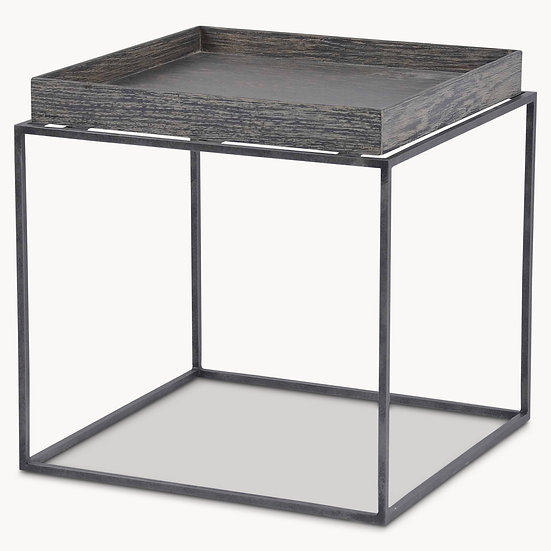WOODCROFT RUSTIC BLACK OAK AND IRON SIDE TABLE