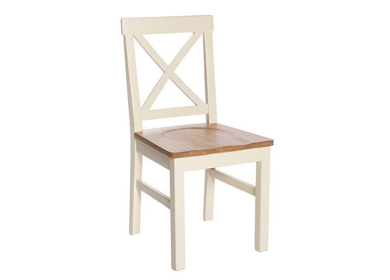 YASMIN PAINTED IVORY SOLID SEAT DINING CHAIR (PAIR)
