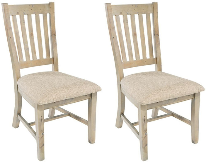 Ashley Rustic Reclaimed Wood Slatted Back Dining Chair with Neutral Seat Pad (Pa