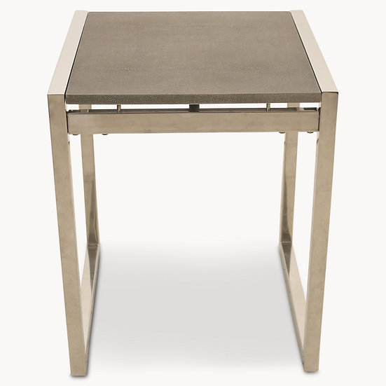 SEYMOUR STAINLESS STEEL AND SHAGREEN GLASS TOP SIDE TABLE