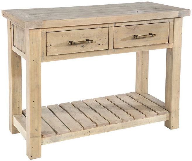 Ashley Rustic Reclaimed Wood 2 Drawer Console Table