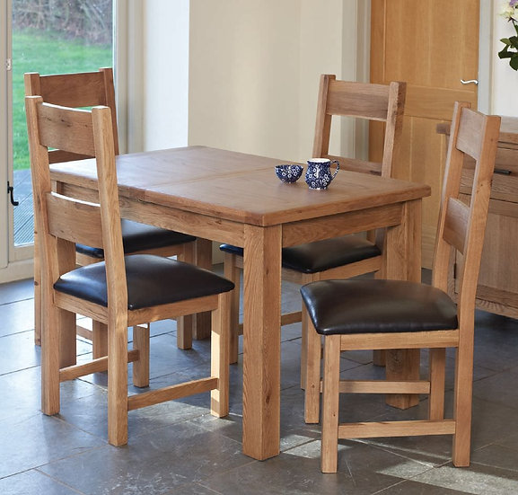 Hampshire Oak Rectangular Extending Dining Set with 4 Padded Seat Chairs - 120cm