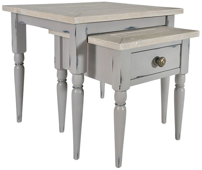 Wakefield Grey Painted Nest of 2 Tables with Drawer