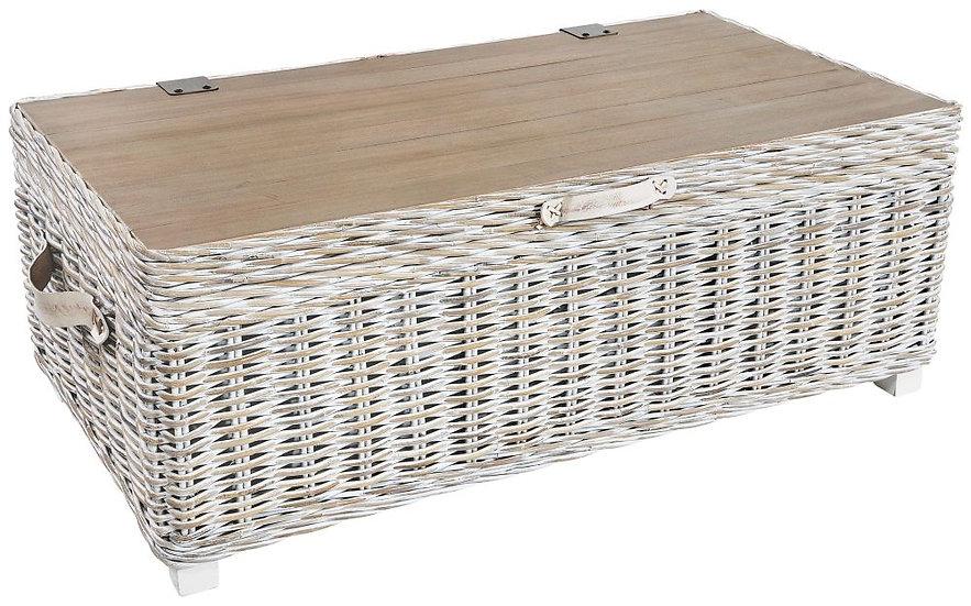 Maze White Rattan Storage Coffee Table