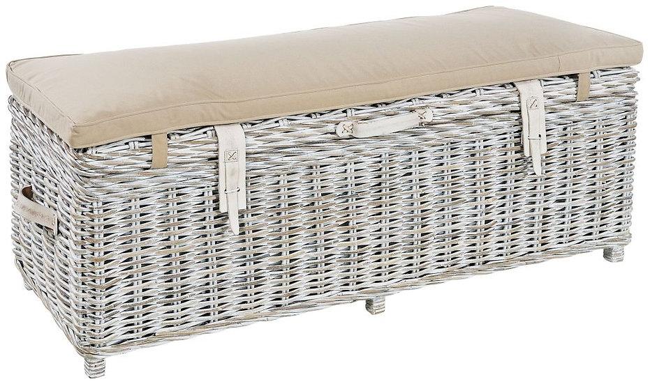 Maze White Rattan Storage Bench with Grey Cushion