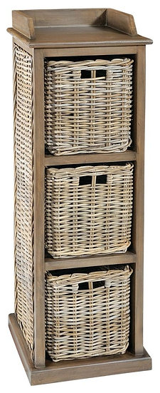 Maze Rattan Grey 3 Baskets Tall Storage Unit