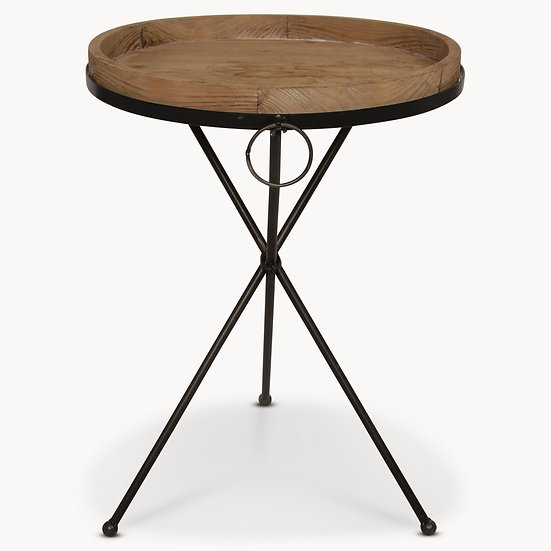 GRANVILLE METAL AND WOOD SIDE TABLE