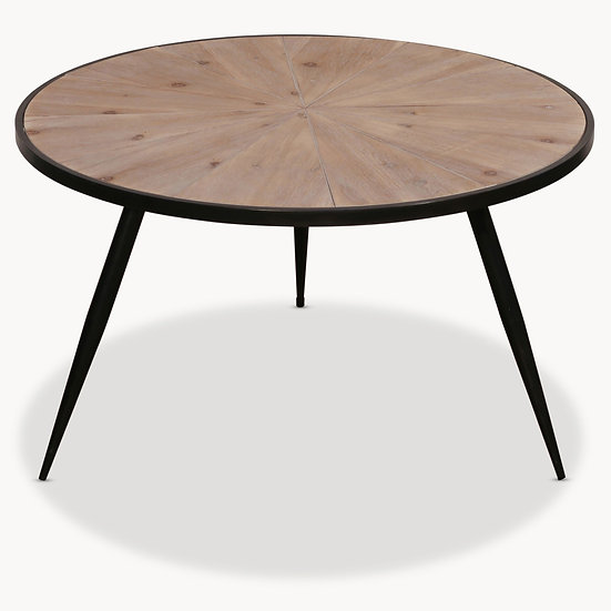 GRANVILLE ROUND IRON AND WOOD SIDE TABLE