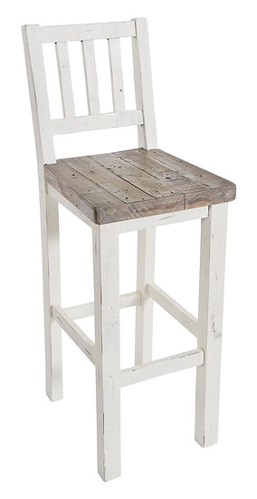 Kent White Painted Distressed Reclaimed Wood Bar Stool