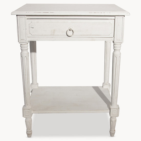 WILTON WHITE SIDE TABLE WITH DRAWER