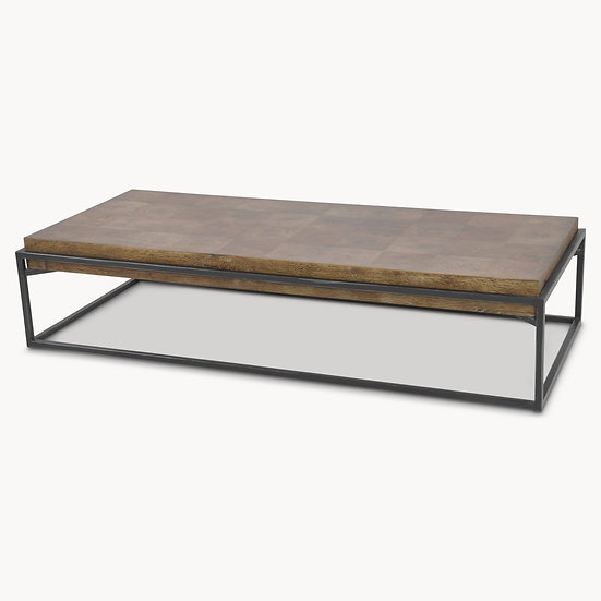 WOODCROFT FLOATING ELM AND IRON COFFEE TABLE