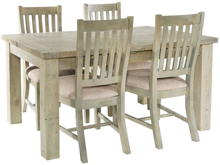 Ashley Rustic Reclaimed Wood 140cm-190cm Rectangular Extending Dining Set with 4