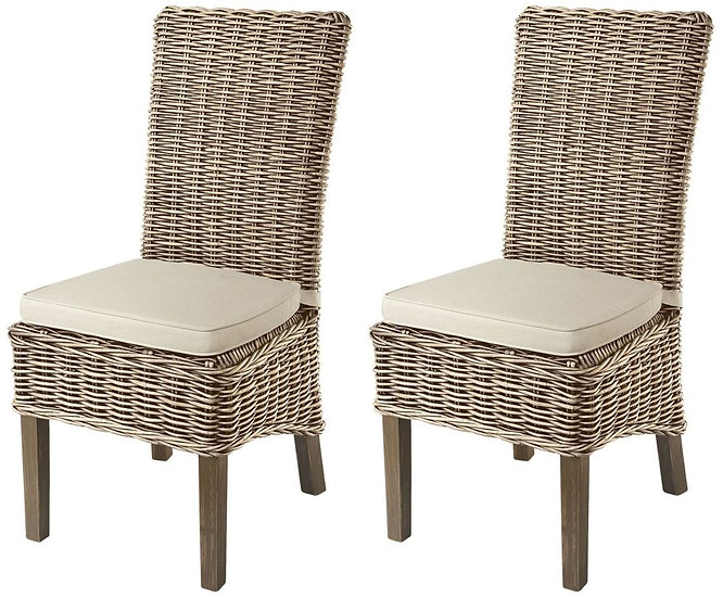 Maze Grey Dining Chair with Stone Loose Cushion (Pair)